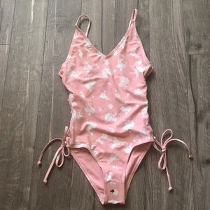 South Beach,pink/white floral swimsuit.size 2